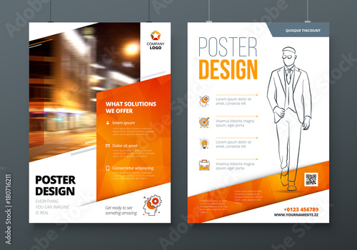 Poster Design A3 A2 A1 Orange Corporate Business Template For Poster Banner Placard Billboard Movie Poster Layout With Modern Elements And Abstract Triangle Background Creative Concept Buy This Stock Vector And