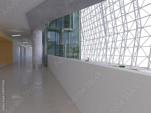 Public interior atrium. 3D render. Canvas Print