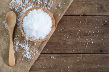 White Sea Salt In Wood Bowl Wi...