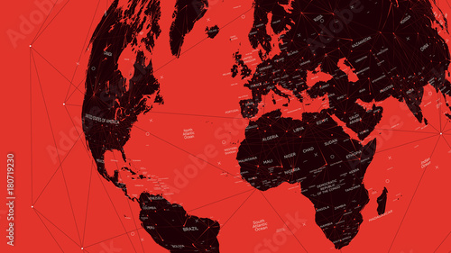 Obraz na plátně  Red political map of the world, vector flat illustration