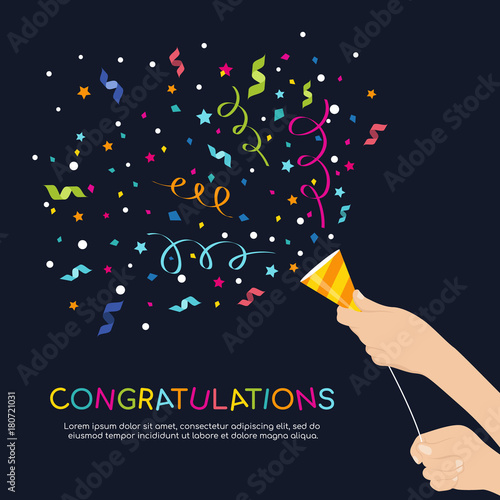 Fotografija  hand hold Party Popper and  congratulations colorful text vector design