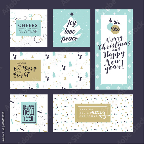 Christmas and new year greeting cards collection flat design vector christmas and new year greeting cards collection flat design vector illustration concepts for greeting cards m4hsunfo