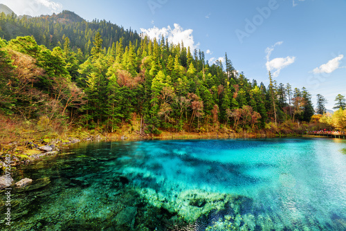 The Five Coloured Pool (the Colorful Pond) with azure water