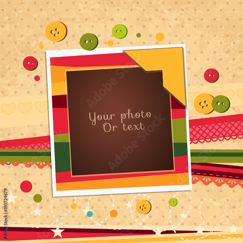 Merveilleux Decorative Vector Template Frame. This Photo Frame You Can Use For Kids  Picture Or Memories