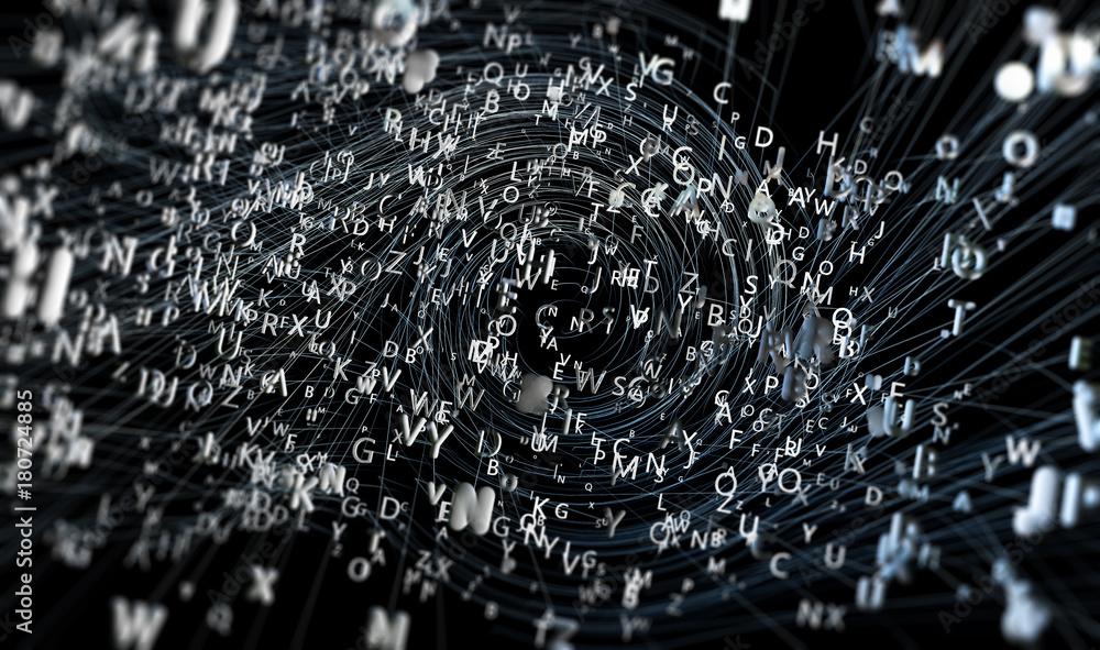 Fototapeta Fondo abstracto con letras.Diseño con palabras y lineas.Concepto de escritura y lectura.Comunicación y lenguaje
