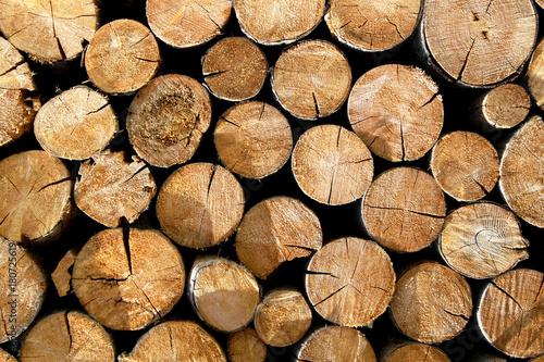 Fotobehang Brandhout textuur Rundhölzer auf einem Stapel