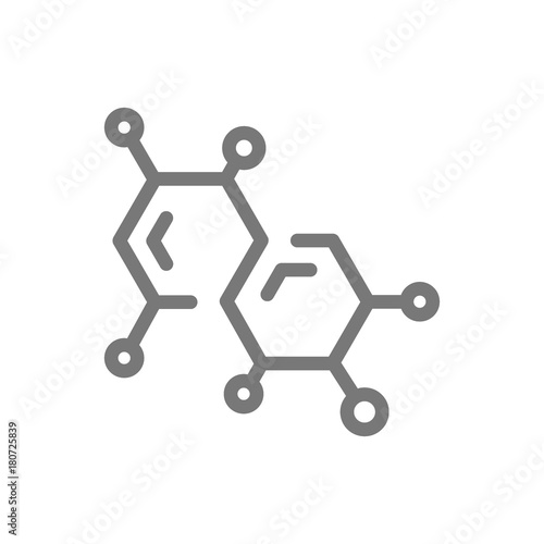 Cuadros en Lienzo Simple chemistry formula and molecule line icon