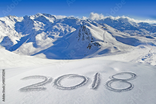 2018 written in the snow, mountain landscape in the background Poster