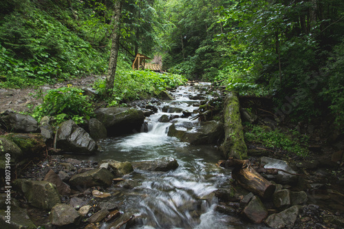 Papiers peints Gris traffic Landscapes of the mountains and Mountain river and natural green forest. Carpathian Mountains. The mountain river. Carpathian Mountains. Europe. Ukraine.
