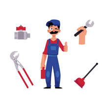 Vector Cartoon Man Blumber In Working Uniform, Cap And Mustache Holding Case With Tools Showing Thumbs Up, Winking, Water Valve, Plunger, Pipe, Monkey Wrench. Isolated Illustration, White Background