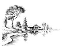 River Bank Panorama. Nature Ar...