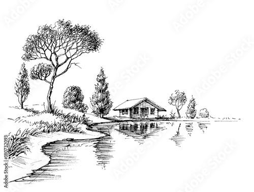 River bank panorama Fototapeta