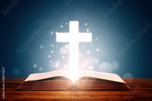Fototapeta Holy bible with cross