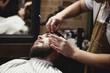 the man is sheared in barbershop
