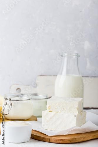 Poster de jardin Produit laitier Curd cheese. Fresh organic dairy products
