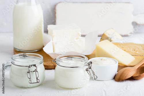 Staande foto Zuivelproducten Yoghurt. Fresh organic dairy products