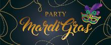 Mardi Gras Mask, Colorful Poster, Banner Template. Vector Illustration.