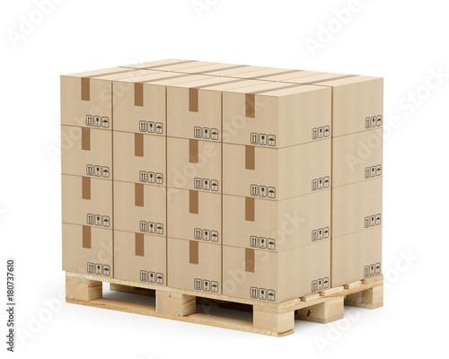 Fotografía Europalette mit Kartons - in Lagen geschichtet - Eurostandard - nach rechts gedr