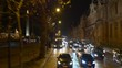 night time illumination paris double-decker bus ride traffic street panorama 4k france