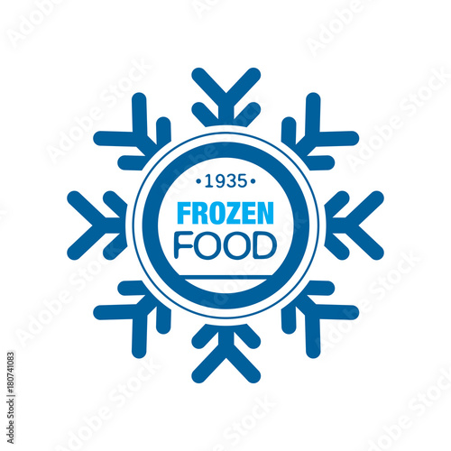 Papel de parede  Frozen food since 1935, abstract label for freezing with snowflake vector Illust
