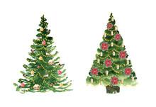 Christmas Tree. Watercolor Han...