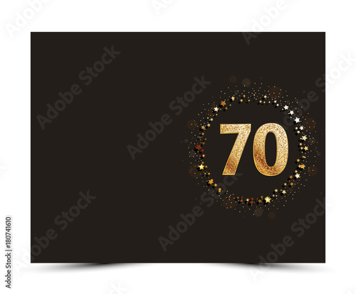 Fototapeta  70 years anniversary decorated greeting / invitation card template with golden elements