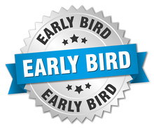 Early Bird Round Isolated Silver Badge