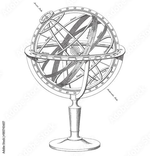vector Armillary Sphere illustration Wallpaper Mural