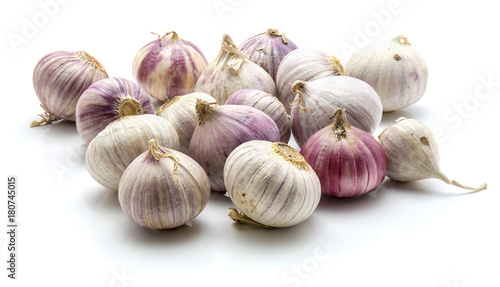 Valokuva  Group of solo garlic isolated on white background.