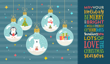 Christmas Greeting Vector Illustration - Christmas Baubles With Cutie Holidays Characters And Type Design.