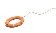 3d Rendering Of A Single Orange Life Buoy On A White Background Hanging From A Long Rope In Motion.