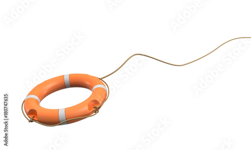 Fototapeta 3d rendering of a single orange life buoy on a white background hanging from a long rope in motion
