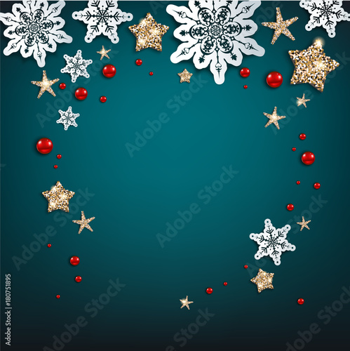 Wall mural - Chistmas blue frame