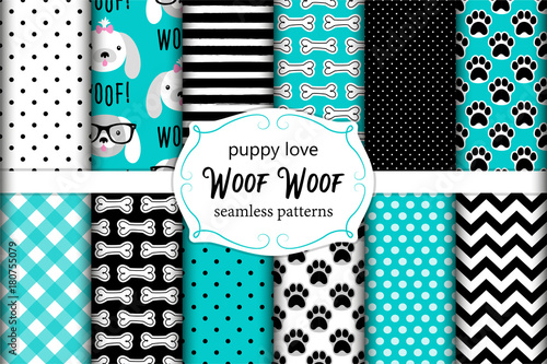 obraz lub plakat Cute set of seamless patterns with hand drawn cartoon characters of dog, footprints and bones