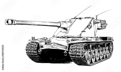 Photo heavy tank painted in ink by hand on a white background