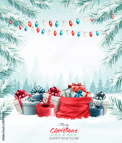 Christmas holiday background with colorful gift boxes. Vector. Wall mural
