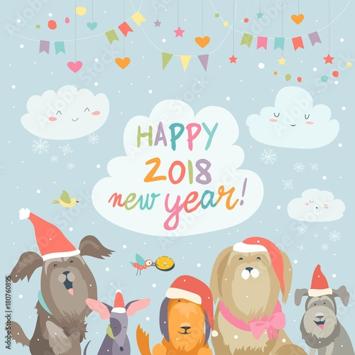 Happy 2018 New Year card. Funny dogs congratulates on holiday