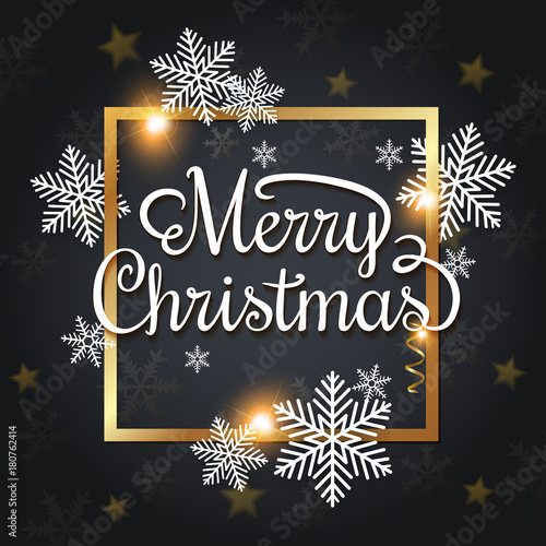 Αφίσα  Christmas greeting card with snowflakes