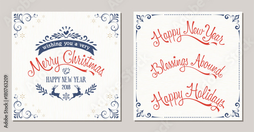 Ornate winter holidays typographic design with reindeer, snowflakes ...