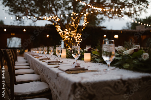 Obraz A Dreamy Outdoor Dinner Setting - fototapety do salonu