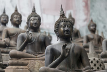 Many Buddhas Statues In The Te...