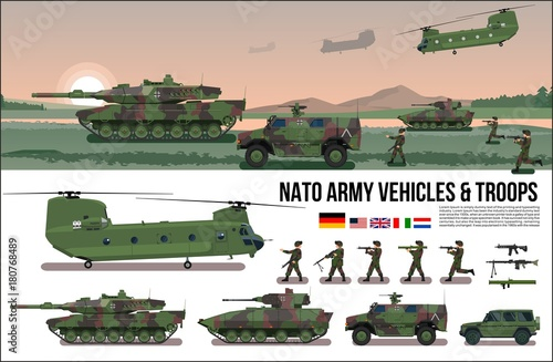 Fotografía  NATO Army war military set with tank, helicopter, troopers soldiers, armored car