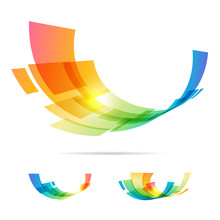 Set Tech Colorful Abstraction Elements On White Background
