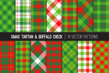 Christmas Tartan And Check Plaid Seamless Vector Patterns. Hipster Lumberjack Flannel Shirt Fabric Textures. Red, Green, Lime Green And White Xmas Backgrounds. Pattern Tile Swatches Included.