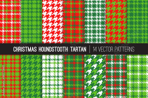 Christmas Houndstooth Tartan Tweed Vector Patterns Wallpaper Mural