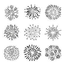 Set Of Hand Drawn Fireworks Is...