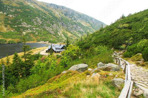 Fototapeta Trail to the turistic shelter in Karkonosze Mountains in Poland obraz