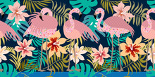 Seamless Vector Border With Flamingos And Tropical Flowers.