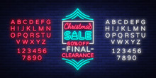 Christmas Sale Poster Advertising Banner In Neon Style Isolated Vector Illustration. Glowing Neon Sign, Night Bright Advertising Sell-off For Christmas. Editing Text Neon Sign. Neon Alphabet