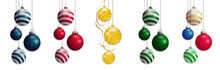 Set Isolated Christmas Balls. Colorful Baubles Element Design. Vector Illustration.